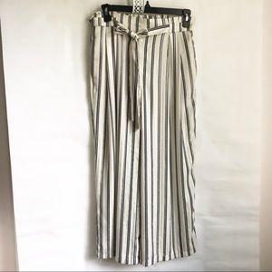 Zara Collection striped cropped wide leg pants